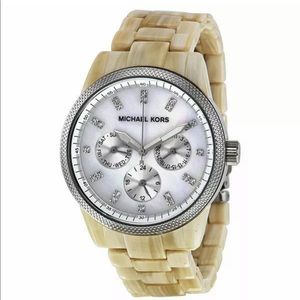 Michael Kors watch white horn mother of pearl dial
